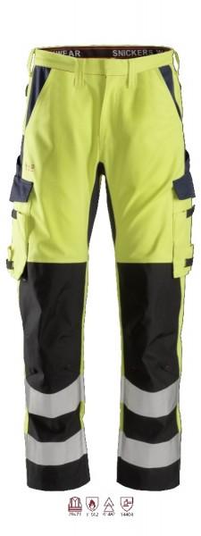 Snickers Workwear 6364 ProtecWork Arbeitshose mit Schienbein-Verstärkung, signalgelb/navy