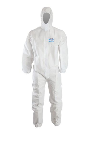 ChemDefend 110 Schutzanzug weiss mit Kapuze und angesetzten Socken, 40 Stück