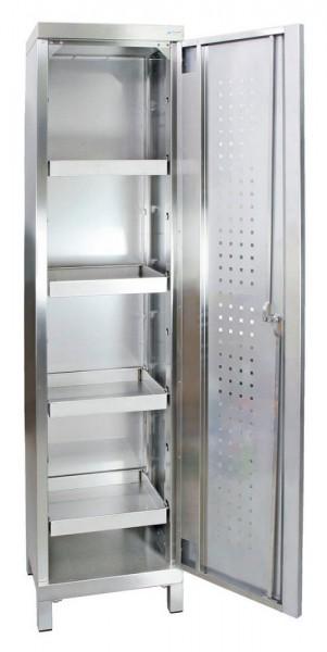 STM-CabinOX Edelstahl-Umweltschrank, 1900 x 450 x 400 mm, 4 Wannen, Vierkant-Sockelfüße