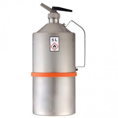 Sicherheitskanne 5 Liter Edelstahl unpoliert Rötzmeier mit selbstschließendem Feindosierer
