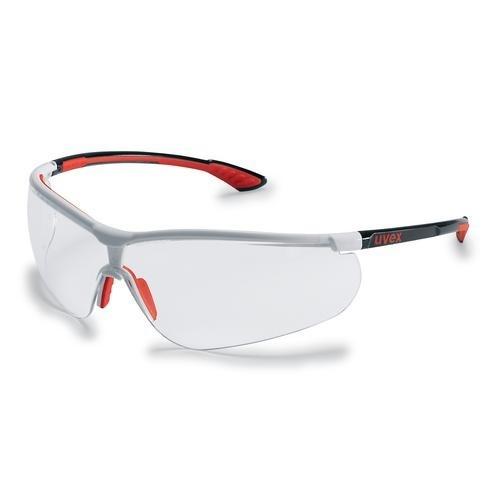 uvex Schutzbrille 9193216 sportstyle schwarz/weiß/rot, PC farblos, kratzfest, beschlagfrei