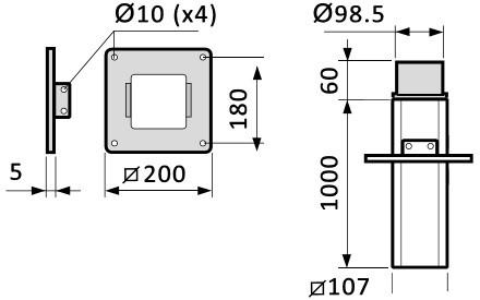 Fumex Deckenkonsole Modell MTF-1000, teleskopierbar, Ø50/75mm, für Absaugarme