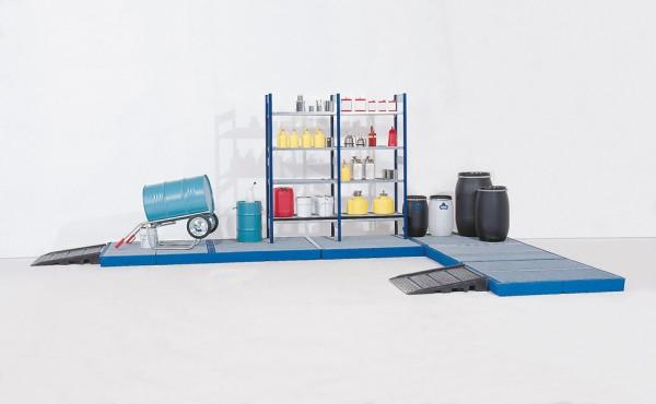 Bodenelement aus PE, verzinkter Gitterrost, 170 L, Radlast 150 kg, 2200 x 790 x 150 mm