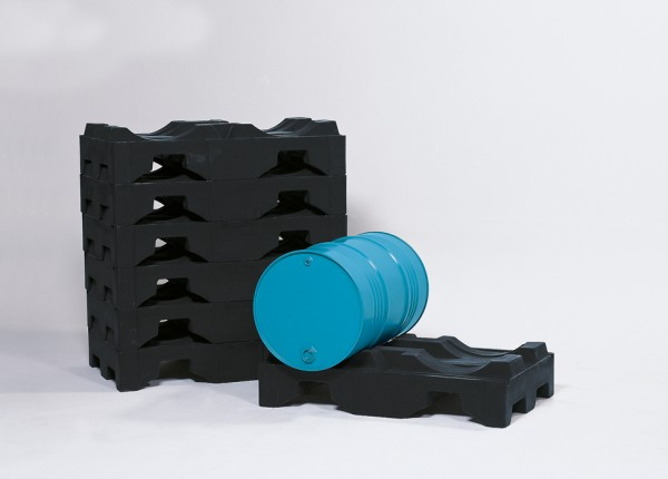 Fasspalette aus PE, 1300 x 790 x 300 mm, für 2 x 200 Liter Fässer