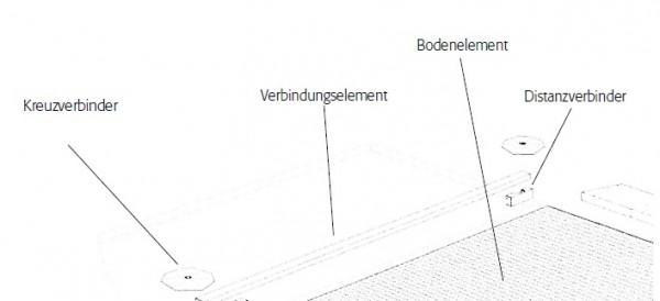 Verbindungselement Stahl verzinkt, 470 x 45 mm, für Bodenelement mit 500 mm Breite