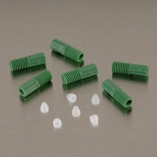 Justrite ETFE-Rohrverschraubungen 3,2 mm, grün, mit 6 Aderendhülsen, 6-er Pack