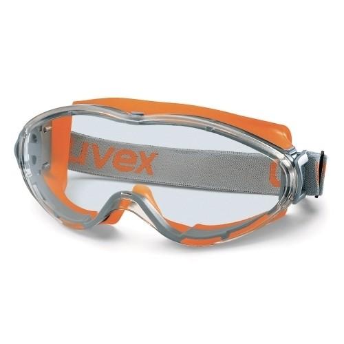 uvex Vollsichtbrille 9302245 ultrasonic mit Kopfband, grau/orange, PC farblos, Panoramasichtfeld