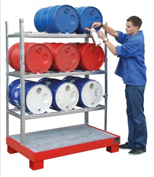 Bauer Abfüllstelle für 3x 60-l-Fässer, Auffangwanne AW mit Gitterrost GR und Stapelgestelle AG