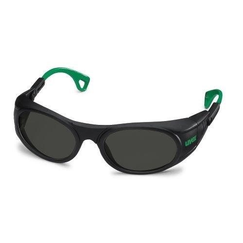 uvex Schweißerschutzbrille 9116044 schwarz / grün, PC grau, Schutzstufe 4, anpassbare Bügelenden