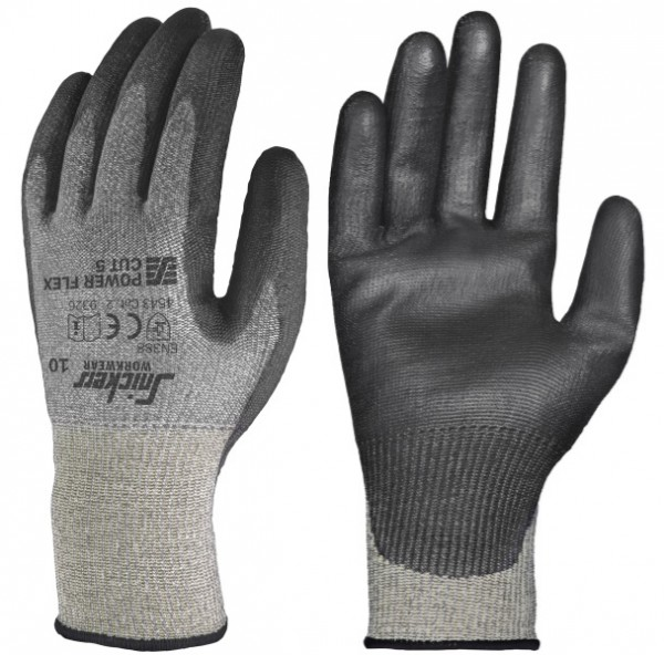 Snickers Workwear 9326 Power Flex Cut 5 Schnittschutzhandschuhe, steingrau/schwarz