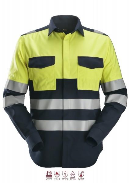 Snickers Workwear 8560 ProtecWork Langarmhemd navy/signalgelb, antistatisch, Klasse 1