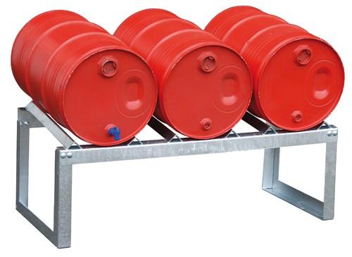 Bauer Fassauflage Typ FA 60-3 aus Stahl, verzinkt, für die liegende Lagerung von 3 x 60 Liter Fässer