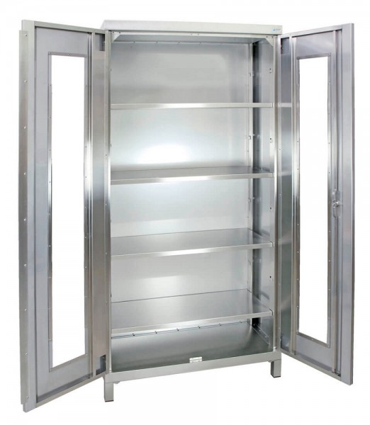 STM-CabinOX Edelstahl-Sichtfenster-Schrank, 1900 x 900 x 400 mm, Vierkant-Sockelfüße