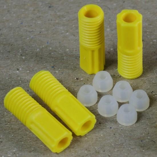 Justrite ETFE-Rohrverschraubungen 2 mm, gelb, mit 6 Aderendhülsen, 6-er Pack