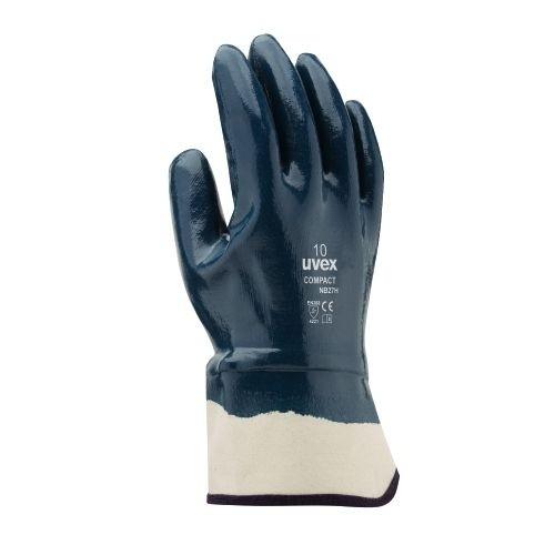 uvex Nitril-Schutzhandschuhe compact NB27H mit Segeltuchstulpe, vollbeschichteter Handrücken