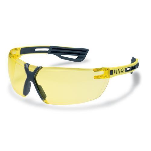 uvex Schutzbrille 9199240 x-fit pro gelb/anthrazit, PC amber, kratzfest, beschlagfrei