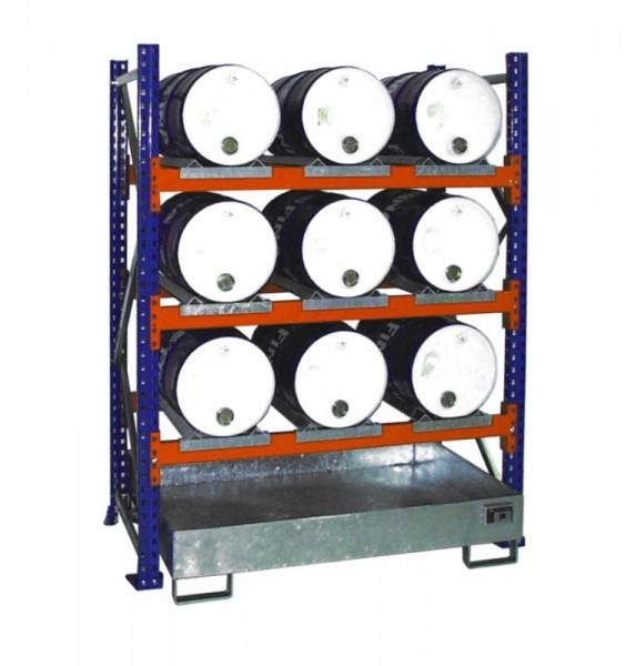 Bauer Fass-Anbauregal Typ S 3005 pulverbeschichtet, 3 Ebene, Auffangwanne verzinkt ohne Gitterrost