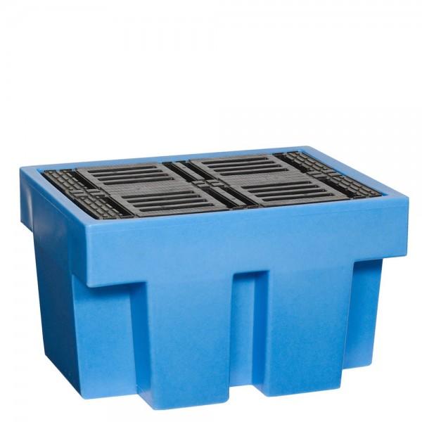 Fasswanne FW1-B mit Stellfläche, PE, blau, Auffangvolumen 225 L, für 1x 200-L Fass