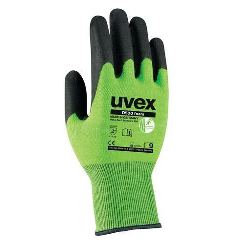 uvex Schnittschutzhandschuhe D500 foam lime/anthrazit mit HPE und Soft-Grip-Foam Beschichtung
