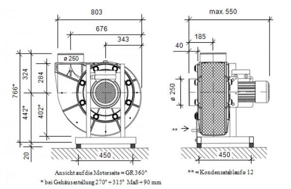 Radialventilator FRv 250/6/D/PTC, 250 - 1700 m³/h, 6-polig