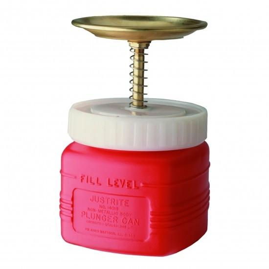 Justrite Sicherheits-Sparanfeuchter, PE, 1 Liter, mit Messingbeschlag