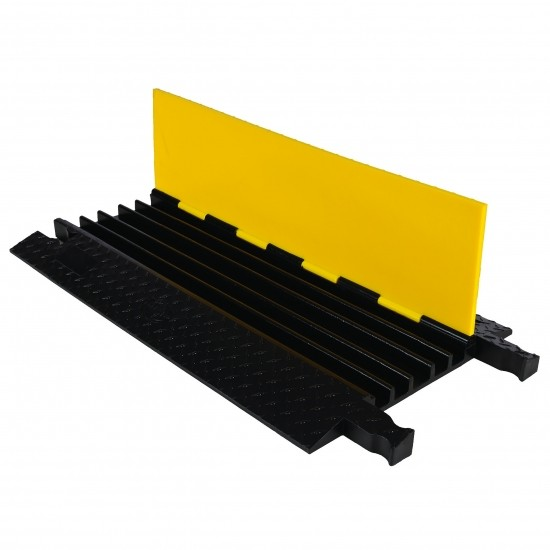 Checkers Yellow Jacket 5-Kanal-Kabelschutz, Klappdeckel, gelb/schwarz, 91x50x5cm