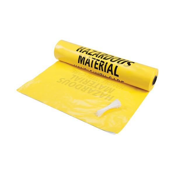 """PE Entsorgungsbeutel - Groß, Hinweis """"Hazardous Material - Handle with Care"""""""