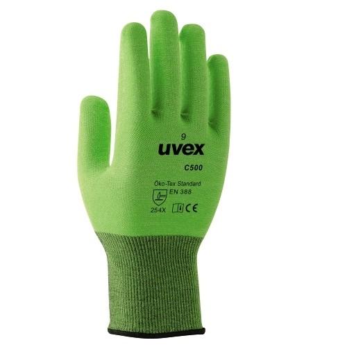 uvex Schnittschutzhandschuhe C500 lime mit Soft-Grip Beschichtung, flexibel, silikonfrei