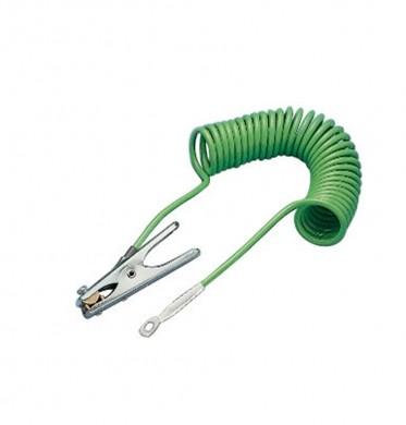 Spiralerdungskabel mit 1 Erdungszange und 1 Öse, 5 m
