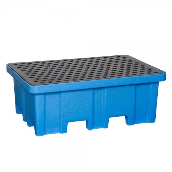 Fasswanne FW2-A mit Stellfläche, PE, blau, Auffangvolumen 230 L, für 2x 200-L Fass