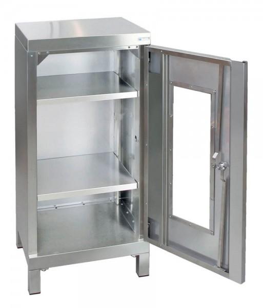 STM-CabinOX Edelstahl-Sichtfenster-Schrank, 1000 x 450 x 400 mm, Vierkant-Sockelfüße
