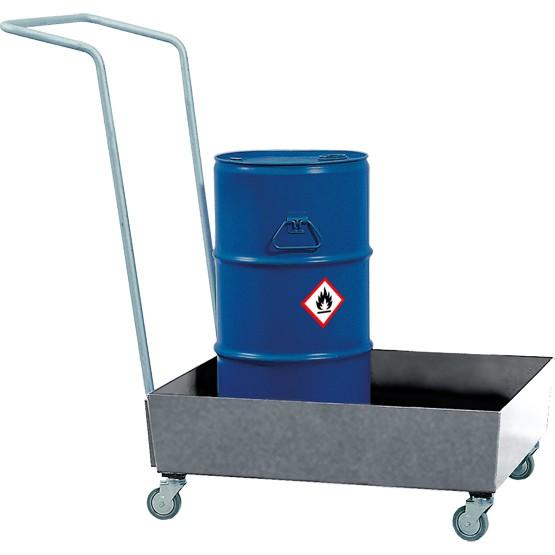 asecos Fahrbare Auffangwanne, 60 l, Stahl verzinkt, für 1x 60-l Fass oder Kleingebinde