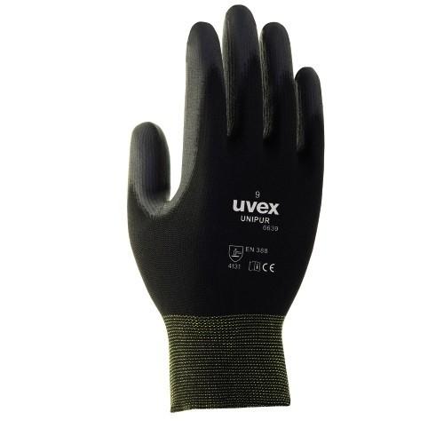uvex PU-Schutzhandschuhe unipur 6639 schwarz für trockene und leicht feuchte Bereiche