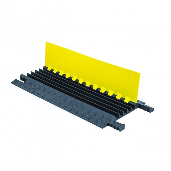 Checkers Grip Guard 5-Kanal-Kabelschutz mit Klappdeckel, gelb/grau, 91x42x6cm