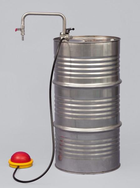 Lösemittelpumpe Fußbetrieb, Auslaufbogen, 20 l/min, Eintauchtiefe 950 mm