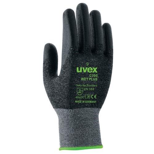 uvex Schnittschutzhandschuhe C300 wet plus anthrazit, teilbeschichtet