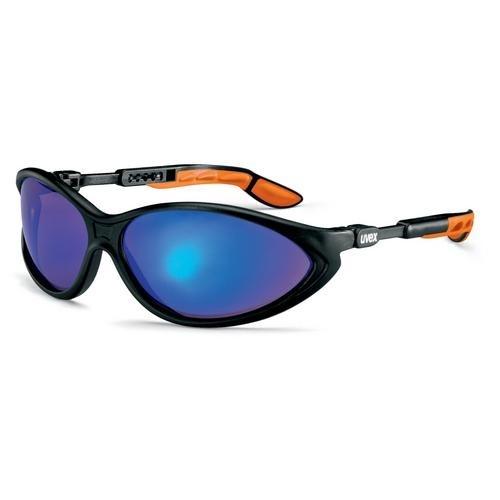 uvex Zweischeiben-Schutzbrille 9188881 schwarz/orange, PC verspiegelt blau