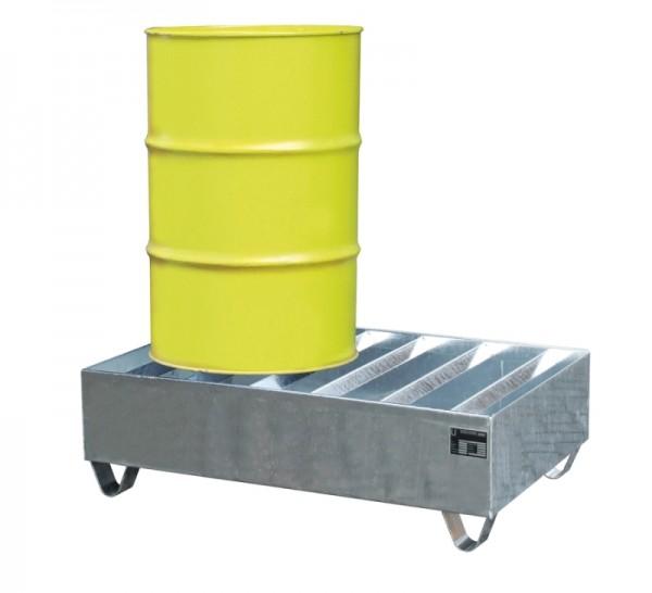 Bauer Profilwanne Typ PWE 200-2 aus Stahl für 2x 200-l-Fässer, stapelbar, Export-Ausführung