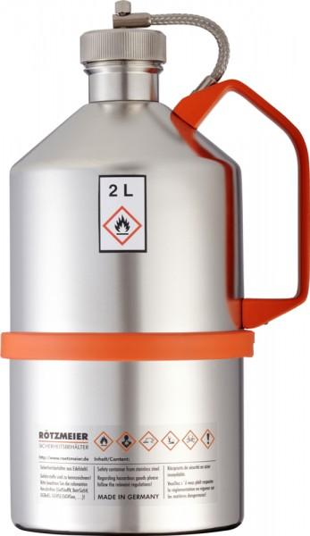 Rötzmeier Sicherheitskanne 2 Liter, Typ 02K mit Schraubkappe, Edelstahl poliert