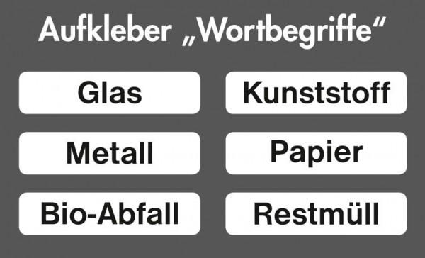 Stumpf Metall Aufkleber-Set Wortbegriffe, 6 Aufkleber, für Abfalltrennung