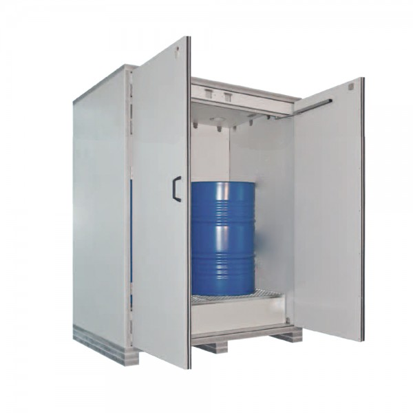 Feuerbeständiger Fass-Schrank zur Lagerung brennbarer Flüssigkeiten in niedriger Bauform