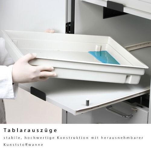 Tablarauszug mit PP-Wanne 11 L Auffangvolumen, für Säure-Laugen-Schrank
