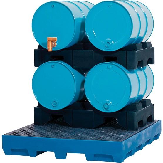 Auffangwanne PE mit Einfahrtaschen, PE Gitterrost, 1460 x 1560 x 235 mm, für 5x 200 L Fass