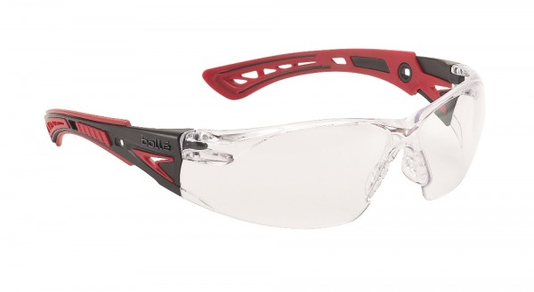 bolle Schutzbrille RUSH+ - RUSHPPSI, klares PC, Bügel rot / schwarz, PLATINUM