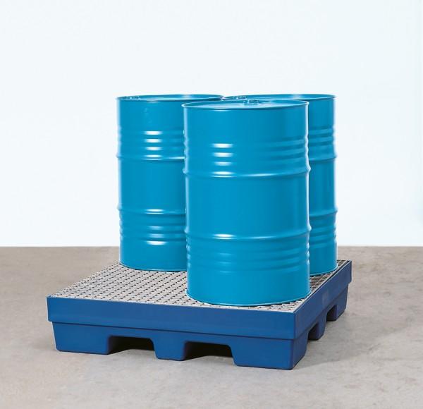 Auffangwanne PE mit Einfahrtaschen, Gitterrost verzinkt, 1240 x 1240 x 270 mm, für 4x 200 L Fass