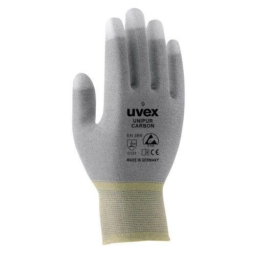 uvex Schutzhandschuhe unipur carbon FT grau/weiß mit Elastomer Beschichtung, ESD