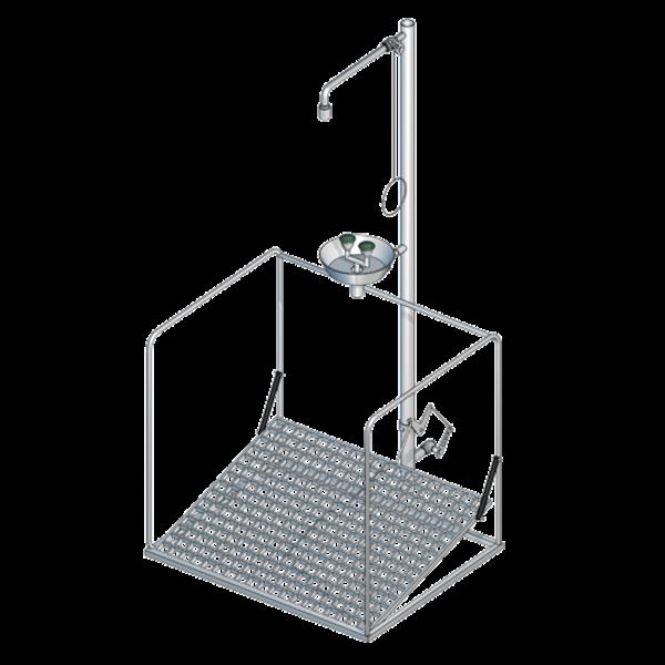 B-Safety PremiumLine Augenduschen-Notduschen-Station BR 886 095 mit umliegendem Schutzkorb