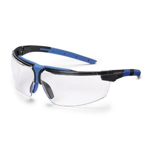 uvex Schutzbrille 9190039 i-3 s, schmal, schwarz/blau, PC farblos, entspiegelte Scheiben