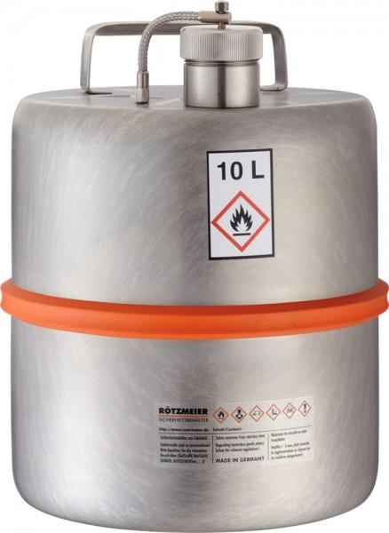 Rötzmeier Sicherheits-Transportstandgefäß 10 Liter, Typ 10TZ, GGVSEB-UN, Edelstahl