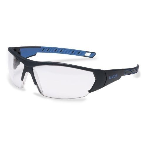 uvex Schutzbrille 9194171 i-works, anthrazit/blau, PC farblos, beschlagfrei, kratzfest